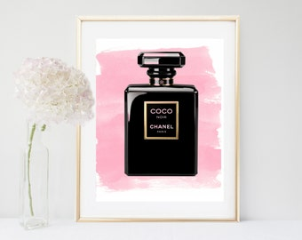 Chanel Art, Perfume bottle, Printable Art, Watercolor Chanel Print, Coco Chanel, Fashion Print, Bedroom Decor, Black Wall Art