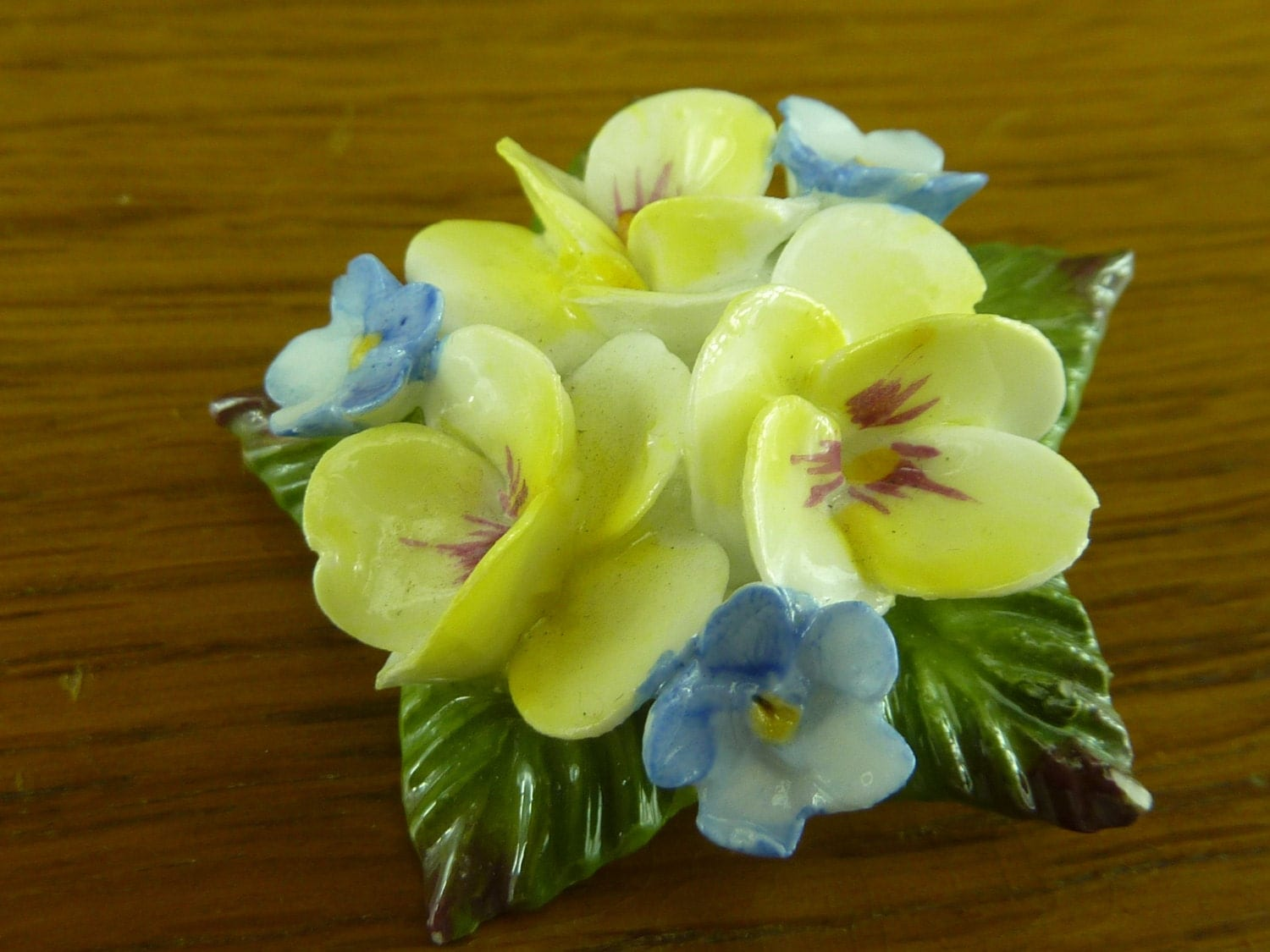 Vintage Aynsley Fine Bone China Brooch Yellow And Blue Flowers