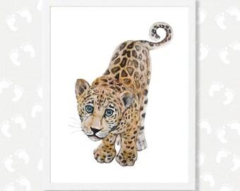 Baby Leopard Print Jungle Animals Safari Nursery Printable Animal Print Big Cats Cubs Jaguar Watercolor Painting Instant Download Digital