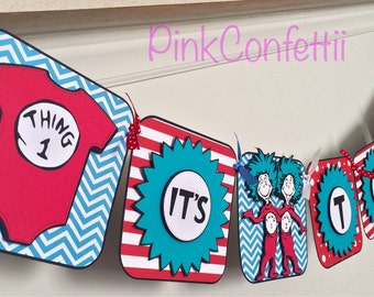 Thing 1 and Thing 2 banner / baby shower banner / birthday banner