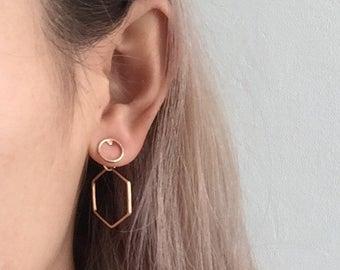 Circle hexagonal earrings