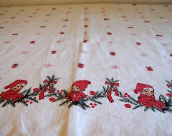 Large Vintage Pixie Elves Christmas Table Cloth.