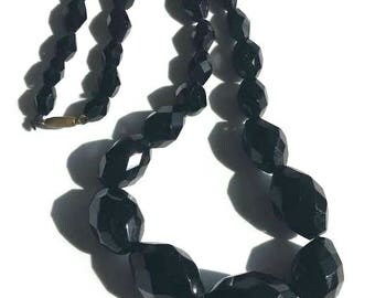 Victorian 19th c. French Jet Black Glass Necklace