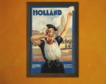FINE ART REPRODUCTION Holland 1910 Vintage Tourism Travel Poster Advertising Retro    Netherlands