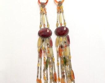 Vintage Hippie Boho Earth Colored Long Beads Earrings