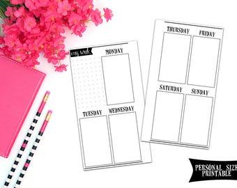 DIGITAL DOWNLOAD - Personal Size Inserts - Undated Vertical Week on 2 Page Personal Planner Inserts