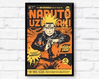 Naruto Uzumaki Vintage Manga Comic Book Ninja Art Poster Anime Print