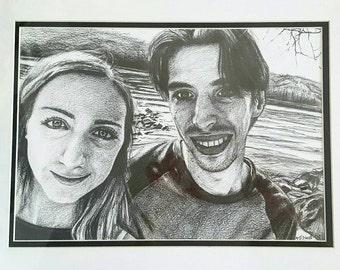 Custom Hand-drawn Anniversary/Occasion Portrait (2 people)