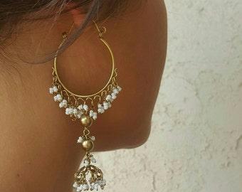 Vintage Indian Hoops,Gold Hoops,Gold Earrings,Gold Jewelry,Chandelier Earrings,Chandelier Hoop Earrings,White Earrings,Bohemian Earrings