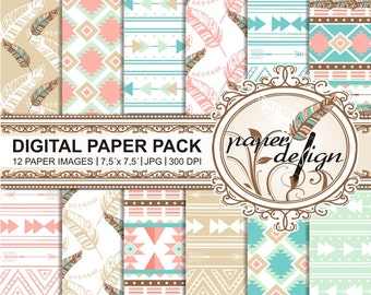 "SALE boho ""digital paper"" pack, TRIBAL CHIC, ""Printable"" backgrounds Scrapbook Paper 7.5 x 7.5 inch #10"