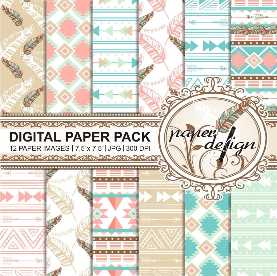 Boho Digital Paper Pack TRIBAL CHIC