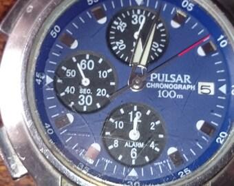 Vintage Pulsar Y182 Mens Analog Quartz Alarm Chronograph Watch Hours~New Battery                                                  .