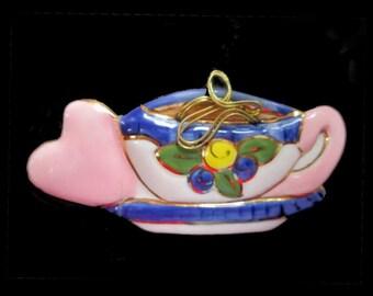 Enamel Pin * Cup Of Tea And Heart Brooch * Enamel Handcrafted Pin * HAS REPAIR