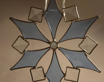 Large Snowflake Stained Glass Sun Catcher