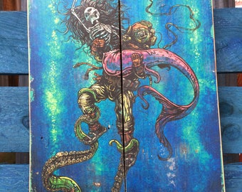 Catch or Release by David Lozeau Official wood art Day of the Dead Deep Sea Diver Mermaid style