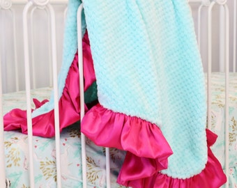 Aqua with Hot Pink Satin Ruffle Minky Baby Girl Blanket | Hot Pink, Aqua, Turquoise, Soft, Aqua, Bright  Minky Baby Girl Blanket