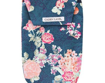 Charleigh's Navy & Coral Floral | Coral and Navy Diaper and Wipe Holder