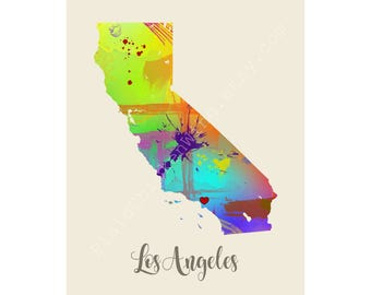 Los Angeles Print City Art Wall Decor Unique Watercolor Map Cool Map Typography Gift State Map Poster