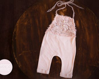 Little Girl Romper - Newborn, 6-9 Months or 12 Months - Photography Prop - Soft Pink