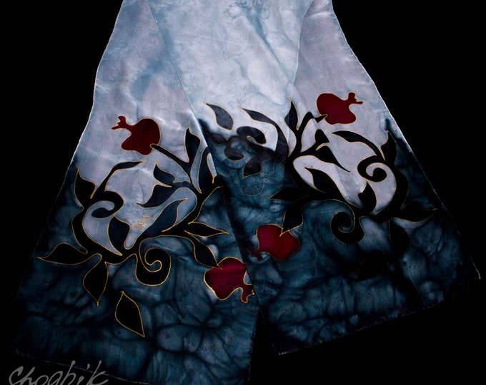 Hand Painted Silk Scarf - Batik - Armenian silk scarf - Pomegranate - Red, Black, Grey - Gift