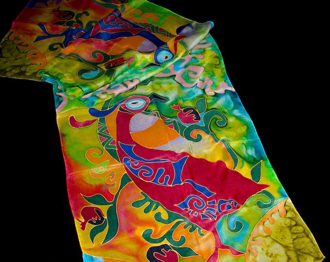 Hand Painted Silk Scarf - Batik Gift for Her - Armenian Handmade - Two Birds
