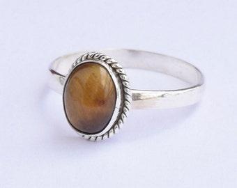 Tiger eye Ring, Tiger Stone Ring, Silver Ring, Solid Sterling Silver Ring, Sterling Silver Ring,size 3 4 5 6 7 8 9 10 11 12 13