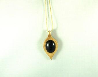 "Arcana Naturae pendant - ""shadow box"" - wood and semi-precious stones"