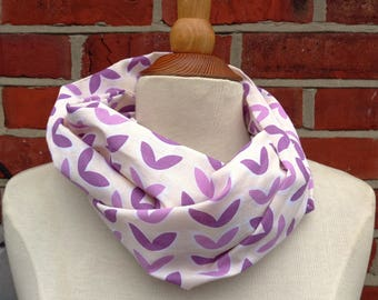 Purple Petals Fabric Infinity Scarf, Infinity Scarf, Ladies Scarves, Loop Scarf, Womens Scarves, Circle Scarf, Tube Scarf, Gift Idea