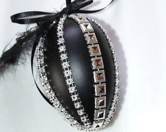 Black easter egg silver glittering tapes feather easter spring decoration home window decor ornament hanger present gift idea goth luxury
