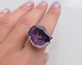Raw Amethyst Ring   Amethyst Druzy Ring   Silver Druzy Ring   Electroformed Ring   Amethyst Druzy Jewelry   Raw Amethyst   Amethyst jewelry