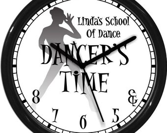 "Dancer's Time Jazz 10"" Black and White Wall Clock Personalized Gift & 5 6 7 8 Dance Studio Girl's Room Gift Dance Instructor"