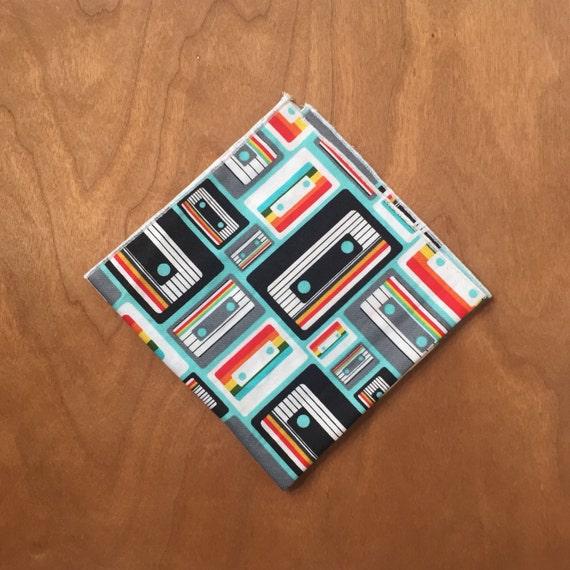 Cassette, tape, black and white,  Pocket square, 10x10, 100% cotton