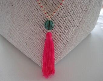 Hot pink tassel necklace
