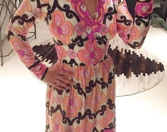 Vintage i.Magnin Psychedelic Dress