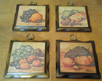 Kitchen Wood Plaques, Four Fruit Pictures on Square Wood Plaques with Brass Ring Hangers