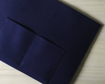 Macbook Air Sleeve / Case. Navy Blue Cotton Laptop Sleeve / Case with Magnetic Closures with Front and Back Pockets