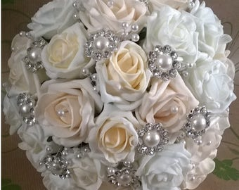 Bridal Bouquet - Vintage Brooch and Pearl - Artificial Foam Roses - Wedding Flowers.