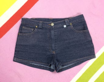 Vintage Denim Hot Pants Shorts - Short Shorts Dark Indigo Wash Stretch Tight - Size UK 6 - 8