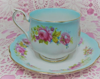 Pretty Vintage Royal Albert Turquoise Rainbow CHATSWORTH Cup & Saucer.