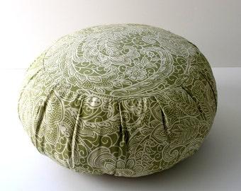 Round Zafu Buckwheat Meditation Cushion - Green Paisley