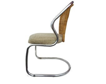 Mid Century Modern Daystrom Rattan and Chrome Floating Chair