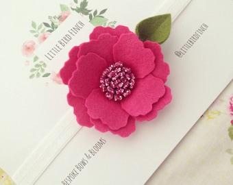 Single Flower Pink Glitter Bloom Elastic Headband