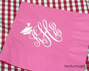 Personalized Party Napkins for Graduation {Bright Pink}