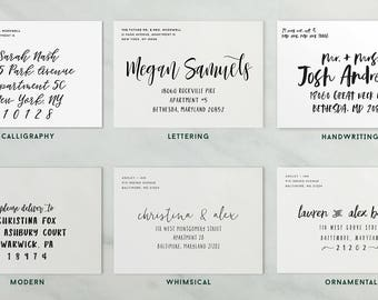 add-on: printed envelopes // envelope address printing // custom envelope printing // return address printing // recipient address printing