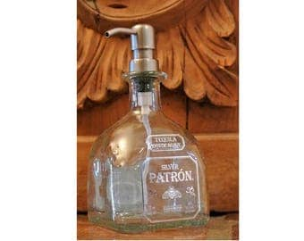 Patron Pump Soap Dispenser / Patron Bottle / Gift for Her / Tequila Gifts / Recycled Patron / Glass Soap Dispensers Bathroom Kitchen