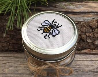 Honey Bee Jar, Mason Jar Decor, Mason Jar Lid, Honey Jar, Honey Bee Decor, Bee Decor, Woodland Decor, Kitchen Decor, Cross Stitch Art