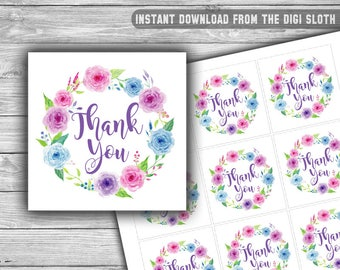 Floral - Baby Shower - Thank You Tags - Printable - Instant Download - Floral Wreath - Favor Tags - Purple - Pink - Blue - 051
