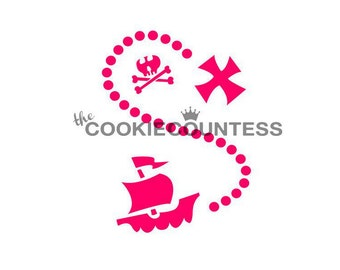 Pirate Map Cookie Stencil