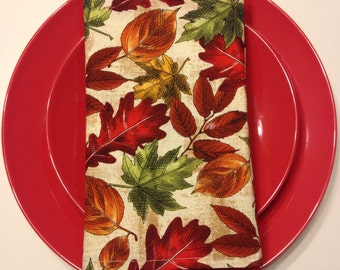 All The Leaves Are Falling* - Set of Eight Handmade Cloth Dinner Napkins