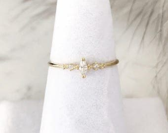 Marquise Crystal Ring, Minimalist ring, Crystal ring, stackable ring, Statement ring, thin gold ring, stacking ring, dainty ring, thin ring